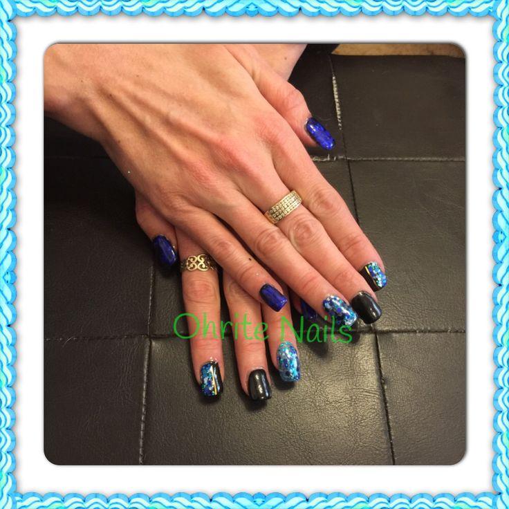Black & Blue Oceanic nails!!! Glitter blendz abyss with blue foil!!!