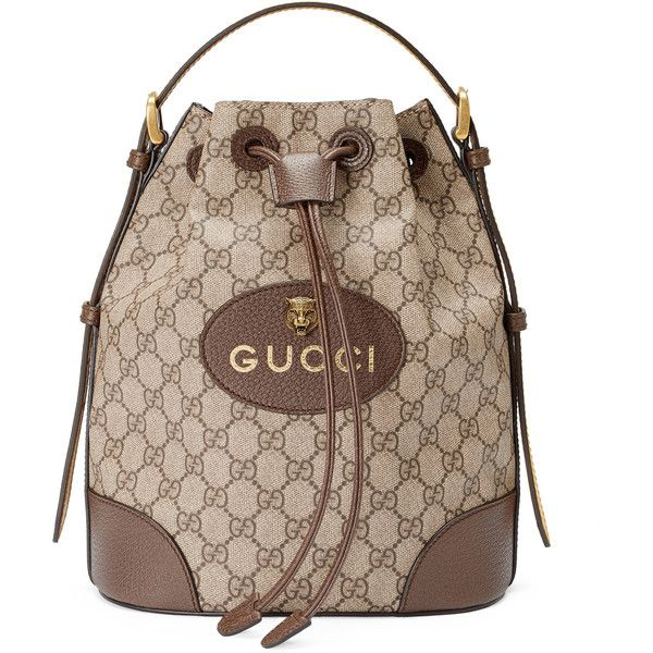 Gucci Gg Supreme Backpack ($1,470) ❤ liked on Polyvore featuring bags, backpacks, handbags, shoulder bags, women, leather drawstring backpack, leather knapsack, draw string backpack, brown backpack and genuine leather backpack