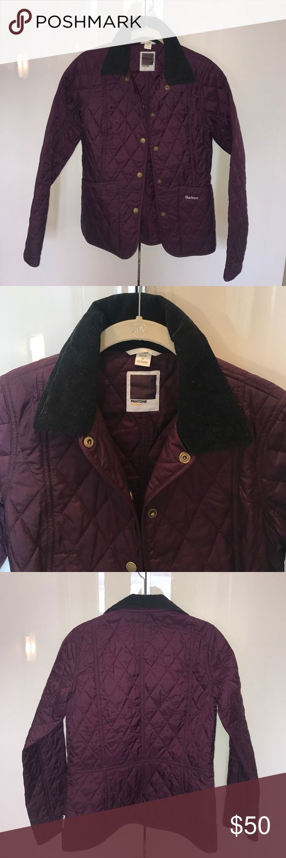 Women's purple quilted Pantone Barbour Jacket Women's Pantone Barbour spring Annandale quilted jacket. Purple. Very lightly worn and in excellent condition. Size US 4. Barbour Jackets & Coats