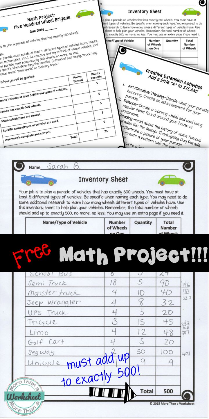 creative math projects Alternative homework ideas we compiled this list from ideas collected from the love and logic insider club math/number activities physical activities outings.