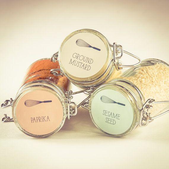 Spice Labels - Whisk Design - Set of 45