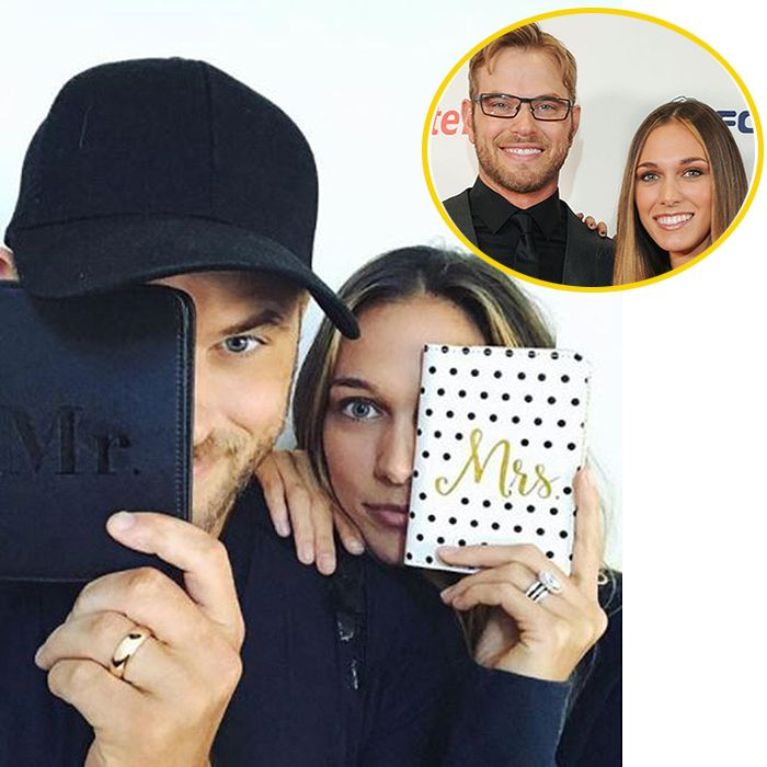 Kellan Lutz and Brittany Gonzales  Over Thanksgiving, Twilight star Kellan Lutz revealed he has married girlfriend Brittany Gonzales. The couple, who announced their engagement in September after two years of dating, took to their respective Instagram pages to share a sweet Mr. & Mrs. selfie alongside a Thanksgiving message.