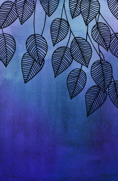 Midnight Blue Garden - watercolor & ink leaves Art Print $16.00