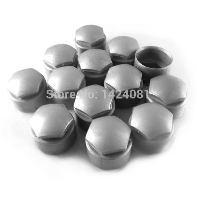 100x Gray color LOCKING TYPE Wheel Lug Nut Center Cover Caps for Audi A1 A3 A4 A5 A6 A7 A8 Q5 Q7 TT For VW Jetta Golf