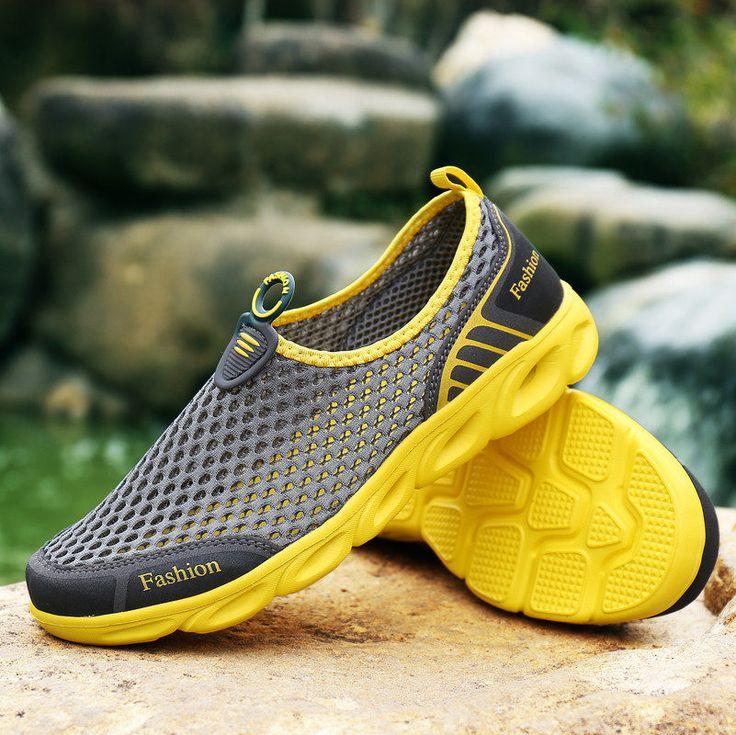 $14 YEALON Aqua Shoes Men Aqua Shoes Women Summer Beach Shoes Water Shoes For Men Sports Sneakers Hiking Sandals Breathable Yellow
