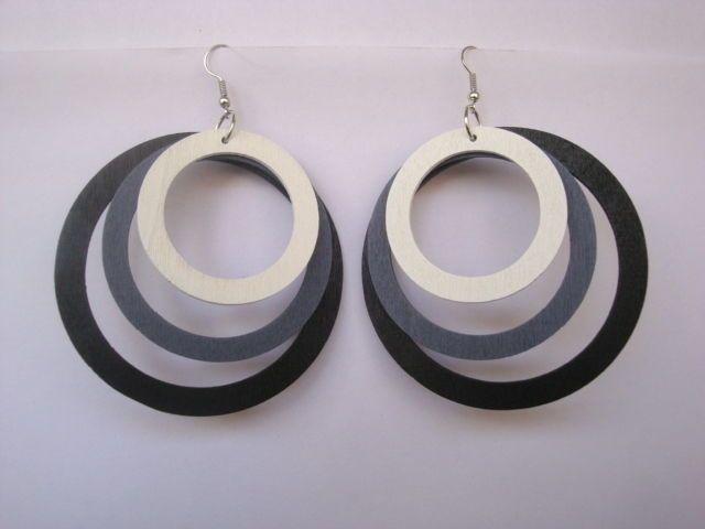 Women Charming Eardrop Mixed Black Gray White Big Wooden Rings Dangle Earrings #Congyang #DropDangle