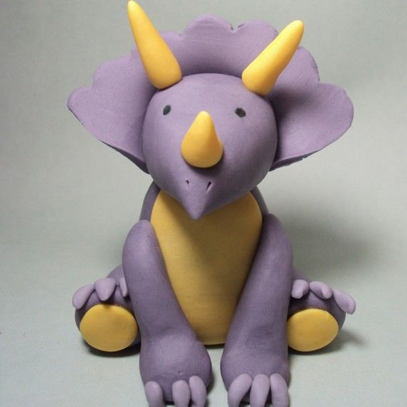 Triceratops Cake Topper for Dinosaur Birthday by SweetTouchDecor