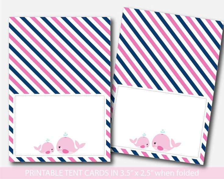 Whale food tent cards, Nautical baby shower food labels, Place cards, Food tent labels, Place settings, Buffet labels, BW2-10