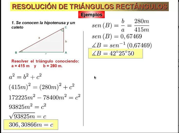 Resolución De Triángulos Rectángulos (Explicación de los cuatro casos)