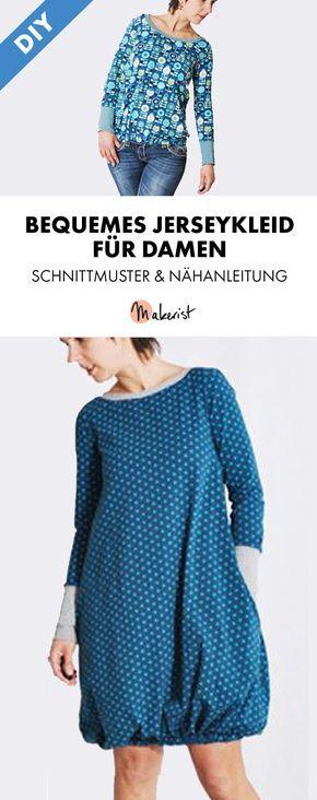 Bequemes Jerseykleid mit Shirtoption - Nähanleitung und Schnittmuster via Makerist.de