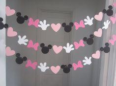 10 ft ratón minnie inspirado papel guirnalda bandera decoraciones cumpleaños Club negro blanco 2 tonos de rosa