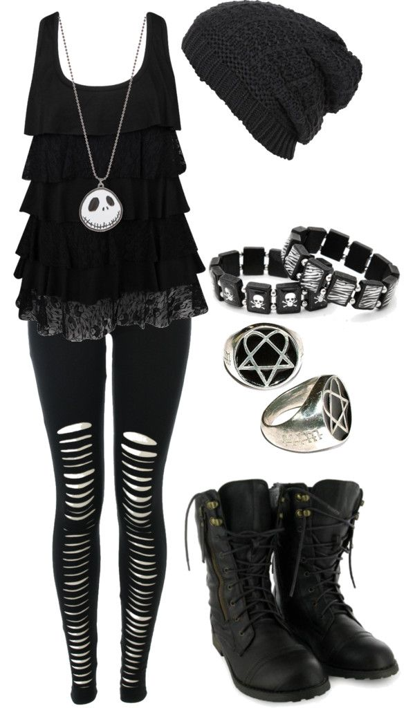 """""""Untitled #504"""" by bvb3666 ❤ liked on Polyvore .... I would swap the necklace with a silver cross one."""