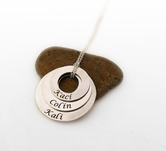 Personalized Hand Stamped Triple Washer Necklace with Kids Names, Mommy Jewelry, Customized Washer Necklace, Gift For Her. on Etsy, 238.01₪