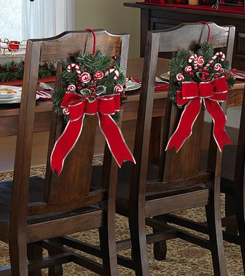 Peppermint Floral Holiday Dining Chair Tie Decorations.  Great idea @ 2 for $14.99, but I would change out the ribbon to burlap...