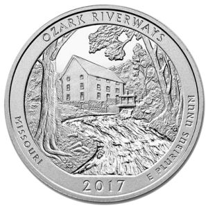 "2017 5-oz. Silver ATB – Ozark National Scenic Riverways, MO For the third coin of 2017 in the popular 5-oz. Silver America the Beautiful (""ATB"") Series, the U.S. Mint has created a stunning landscape design celebrating the Ozark National Scenic Riverways in Missouri. The 80,000 acre national park, anchored by the Current and Jack Fork rivers, sees over a million visitors a year attracted to the water and outdoor activities as well as the park's caves, scenery, and historic sites."