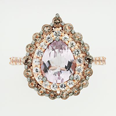 14k Rose Gold Pink Amethyst, White Sapphire and Smoky Quartz Teardrop Ring  If I had money to just throw away on wants, I would want this entire line of jewelry. Oh. My. Goodness.