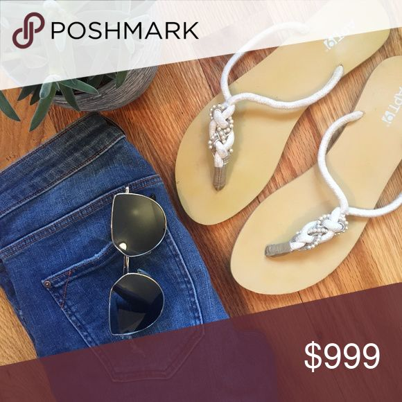 ✨NEW✨ Embellished Braided Flip Flops Gently used braided throng flip flops    Embellished beading and fiber rope strands    Some signs of wear - marks/discoloration (see pics)    Great for summer lunch date or a ride around town    Pairs well with jeans or a flirty skirt!     🚫no trades  💵open to reasonable offers Apt. 9 Shoes