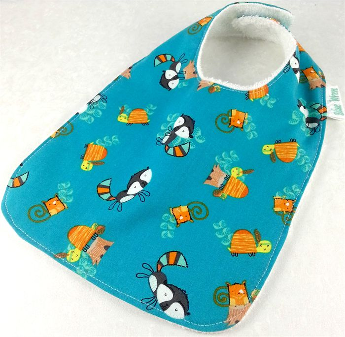 Baby Bib -own label Green Woodland Cotton Fabric, Bamboo Toweling,Snap Fastened.