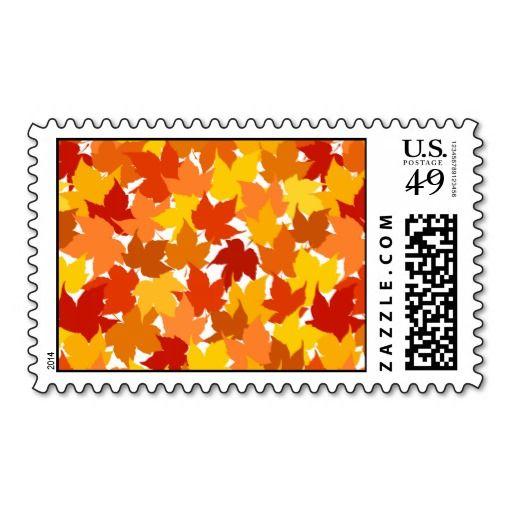 Maple tree autumn leaves postage stamp  #postage #stamp #stamps #zazzle #leaves #floral #leaf #nature