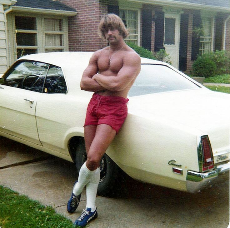 Muscle Cars and guys with long hair, short shorts, and yep sometimes socks like that