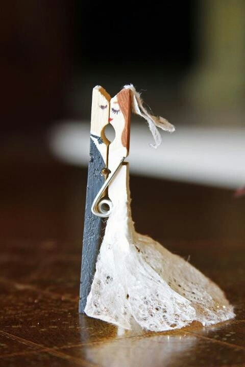 Haha cute! Bride and groom clothes pin.