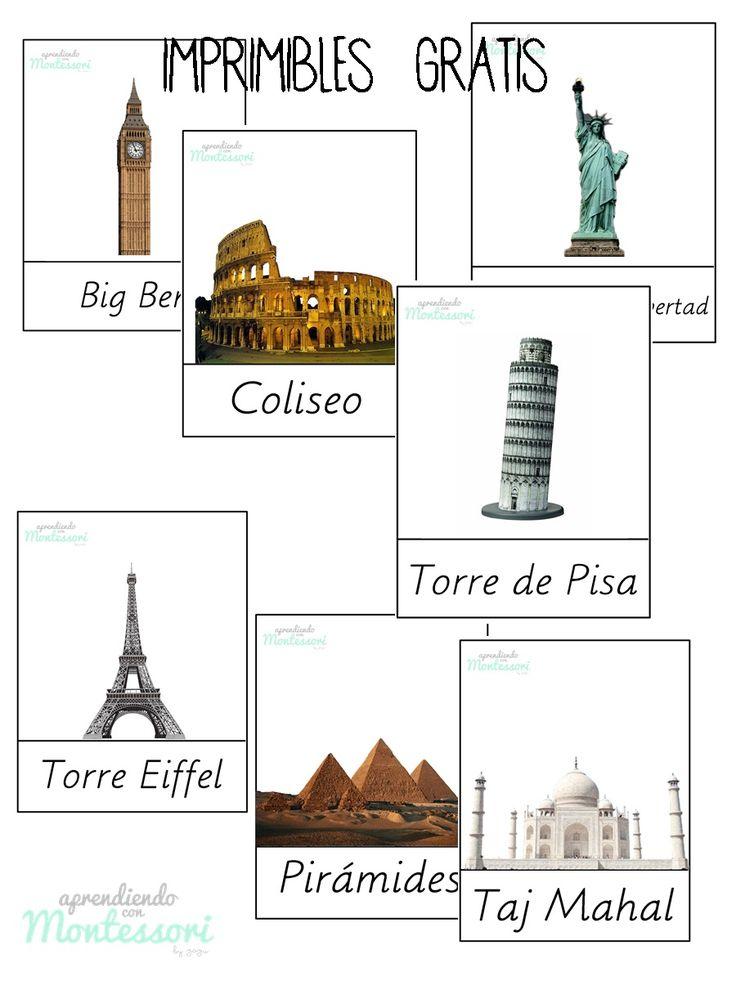 tarjetas monumentos / monumets cards https://www.facebook.com/AprendiendoconMontessori