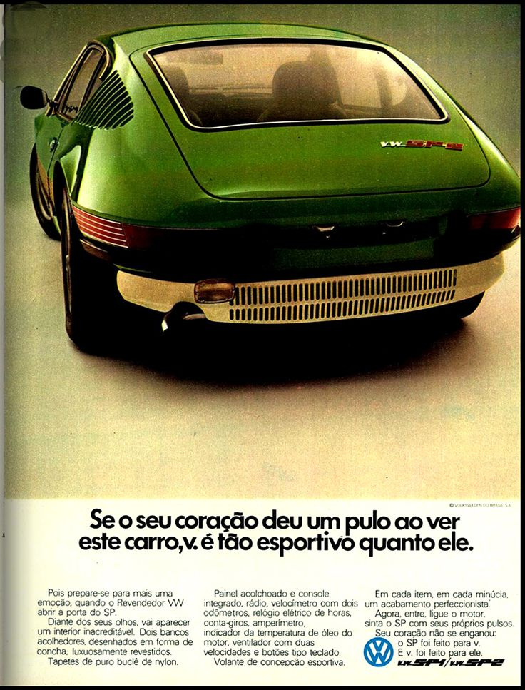 Anúncio Volkswagen SP1 e SP2 - 1973