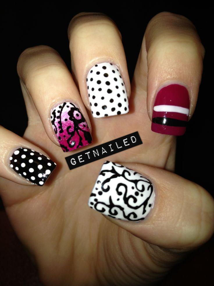 cutePolka Dots, Nails Art, Nails Design, Fun Nails, Black White Red, Design Nails, Nail Art, Fingers Nails, Black White Pink Nails