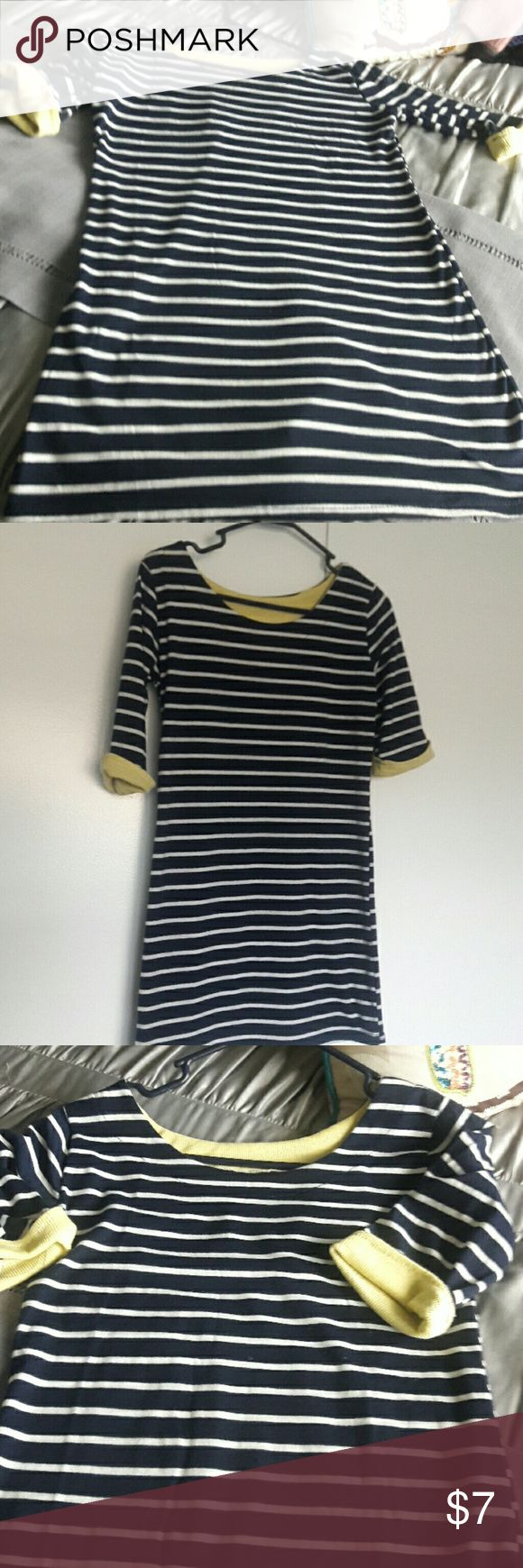 Navy and white stripe top with yellow trim Very cute top.  Do not know maker no tag.  This is a Size small to medium.  Good condition.  Got at designer consignment store. Bundle discount offered. Tops Tees - Short Sleeve