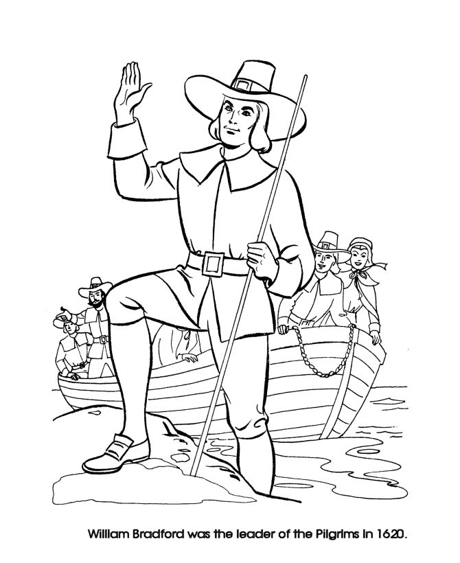 Thanksgiving Coloring Pages - Pilgrim Leader William Bradford