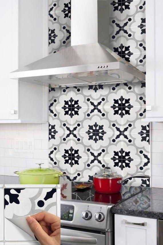 Peel /& Stick Kitchen and Bathroom Splashback Removable Vinyl Wallpaper Zahara Black
