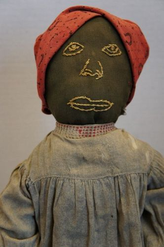 antique black cloth doll with embroidered face rag stuffed amazing
