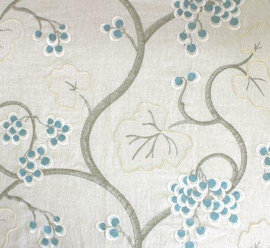 Shiraz embroidered linen fabric a grape and vine leaf