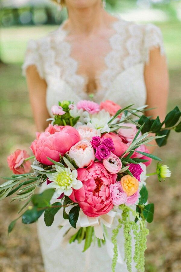 Stunning Bridal Bouquet Arranged With: Pink Peonies, Pink Garden Roses, Hot Pink Spray Roses, Peach English Garden Roses, Orange Garden Roses, Coral Ranunculus, Pink Ranunculus, Green Mums, Misc. White Florals, Green Amaranthus & Several Varieties Of Greenery/Foliage~~