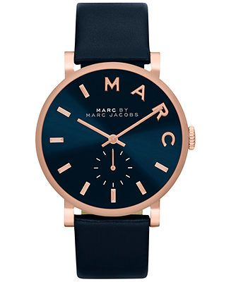 Marc by Marc Jacobs Women's Baker Navy Leather Strap Watch 36mm MBM1329 - Impulse Brands - Jewelry & Watches - Macy's