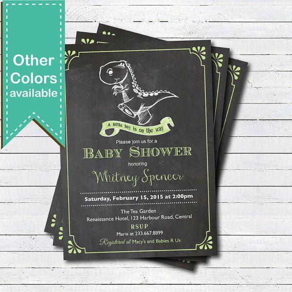 Pizarra dinosaurio baby boy ducha invitación. Azul el por CrazyLime