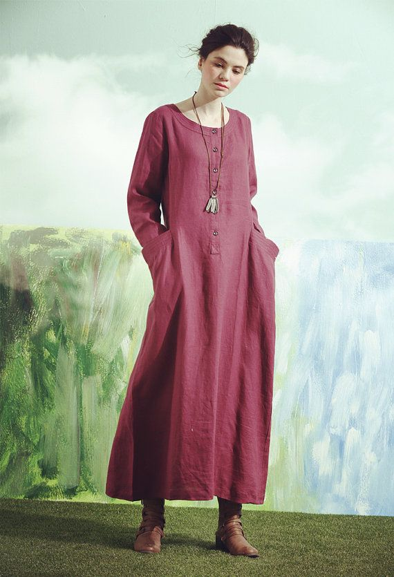 linen tunic dress for women 【Characteristic】 Extravagant flattering loose dress , so elegant and comfy ... Perfect solution for your everyday outfit:) ...not only... This would be turn around garment wherever you go! Your fashion update , your home entertainment your casual style ,your beach cover up, your party inspiration and so...so ...on:) 【Details】 This linen dress is full of creative and fun details! 1. two artist big pockets 2. cute buttons on the front. 3. long sleeves 【Fabric】 M...