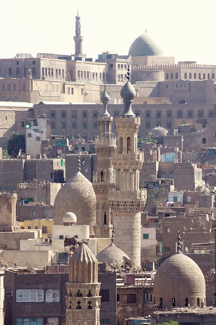 Cairo view from the minaret of the mosque Ahmad Al Maridani  Medieval quarter, Cairo, Egypt.  by Seb and Jen via flickr