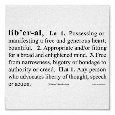 """At the risk of sounding self important, I would proudly count myself among """"liberals."""""""