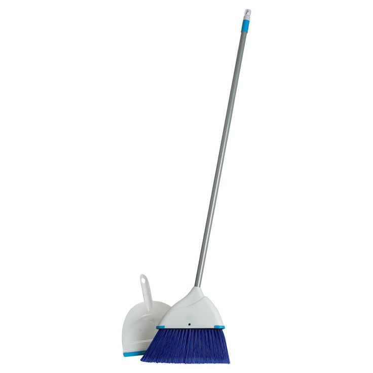 • Durable yet flexible bristles<br>• Dustpan snaps on the broom handle<br>• Hanging loops for easy  storage<br>• Ideal for indoor use<br><br>The Clorox Blue Angle Broom and Dustpan Set is just the thing for small messes at home or the office. The broom bristles are angled to help you get into corners and under cabinets.
