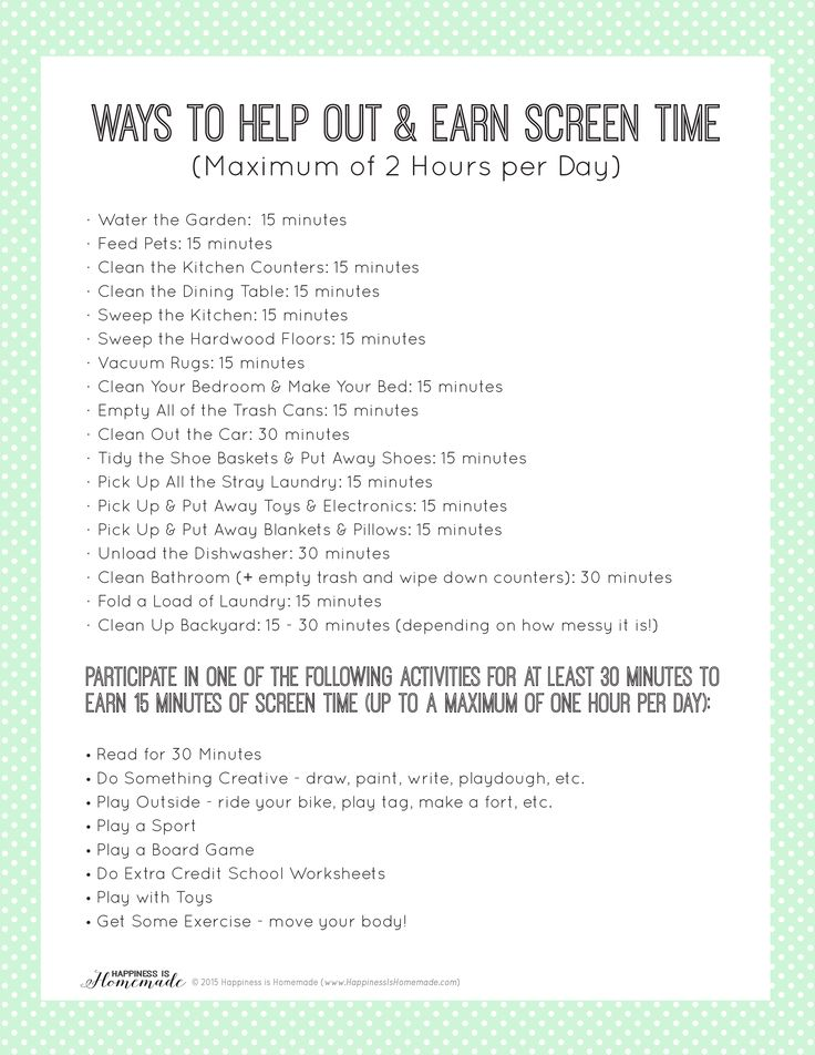 Printable Chore List to Earn Screen Time