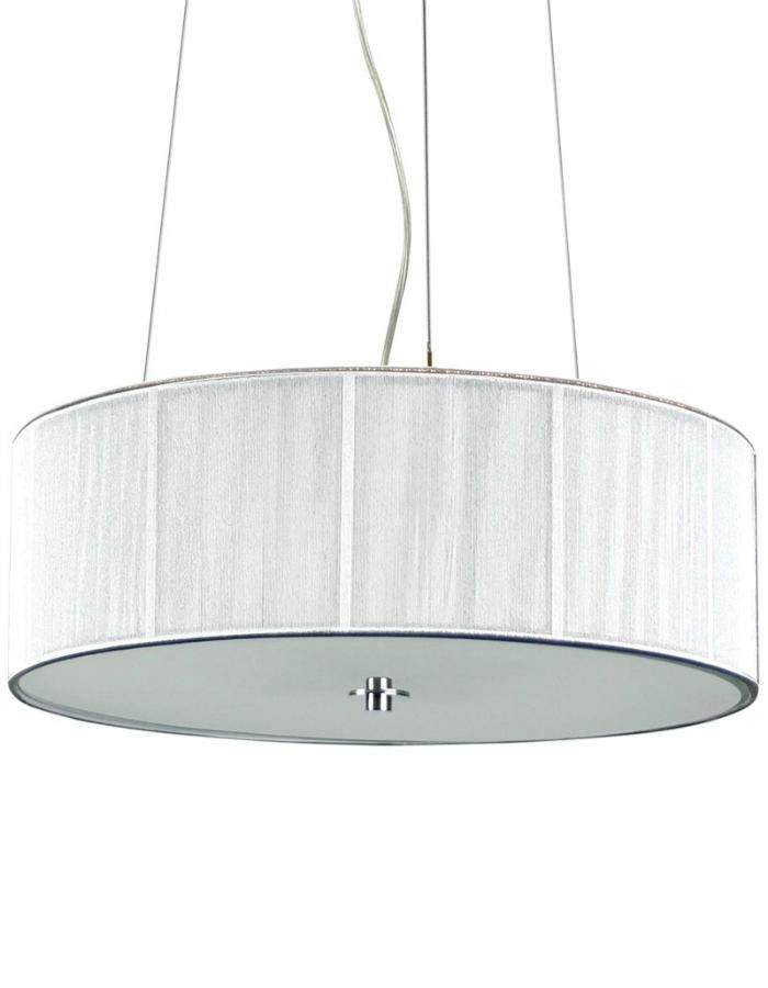 The Lunette Pendant Light is a contemporary black string drum shaped pendant with a frosted glass diffuser.