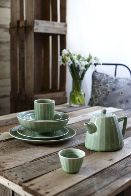 muted green dishes