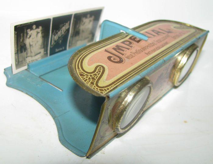 Tin folding stereoscope set  D.R.G.M. Imperial Chocolates-1905