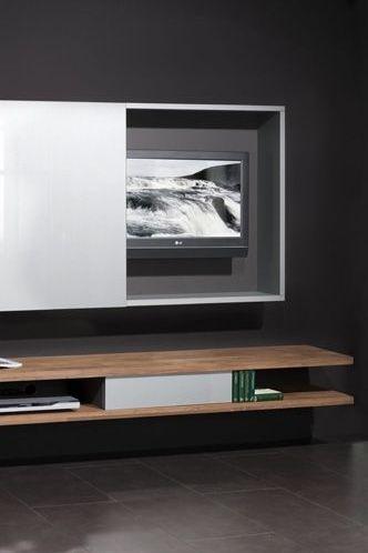 #television #tvkast #tvmeubel #hout #wood #schuifdeuren #planken www.leemconcepts.nl