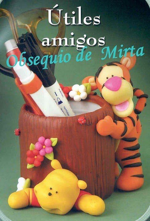 Ana Paula Arte Em Biscuit By Ana Paula Wanderely: Porta Lapis Tigrão e Ursinho Pooh