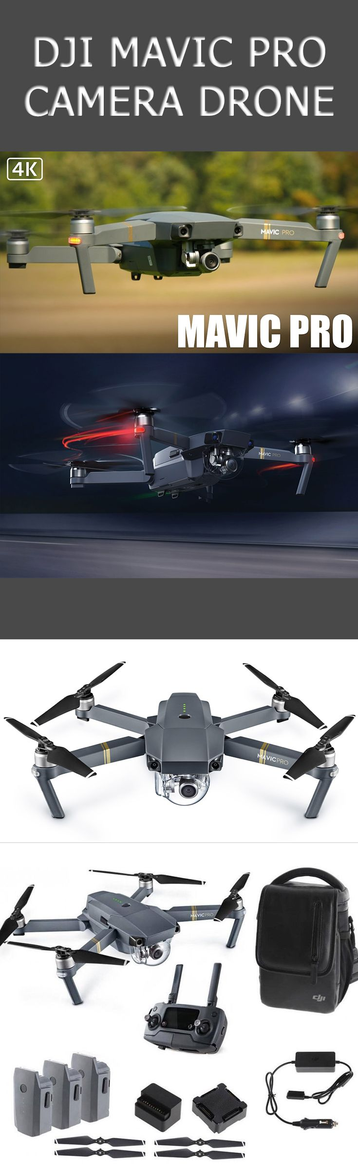 DJI Mavic Pro Camera Drone. Wherever You Go The DJI Mavic Pro is a small yet powerful drone that turns the sky into your creative canvass easily and without worry, helping you make every moment an aerial moment. Its compact size hides a high degree of complexity that makes it one of DJI's most sophisticated flying cameras ever. | DJI Mavic Pro | dji drone | drone dji |