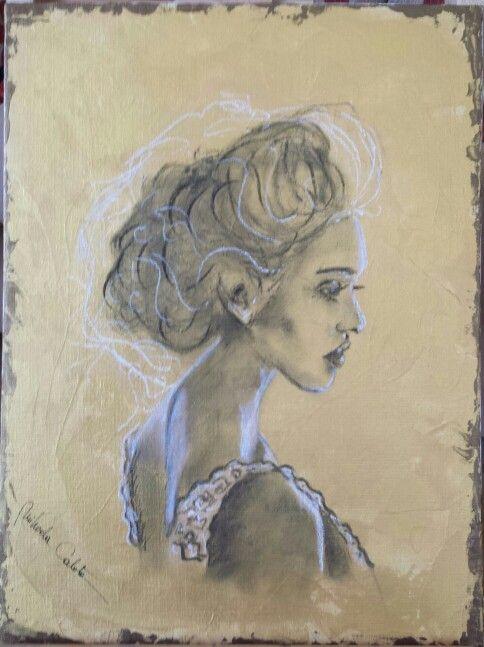 Charcoal on acrylic paint