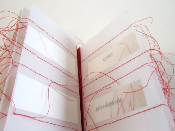 A Subversive Stitch by Fiona Dempster 2012 | 12 x 9 x 9 inches (30.5 x 22.9 x 22.9 cm) Fabriano Medioevalis paper, tracing paper, cotton and linen thread; inkjet printed, single-page pamphlet-stitch binding. featured in 500 Handmade Books Volume 2 by Julie Chen (Lark Books)  www.bookdepository.com/500-Handmade-Books%3A-v-2-Julie-Chen/9781454707530/?a_aid=liberalsprinkles #artists_book #book_arts #stitching