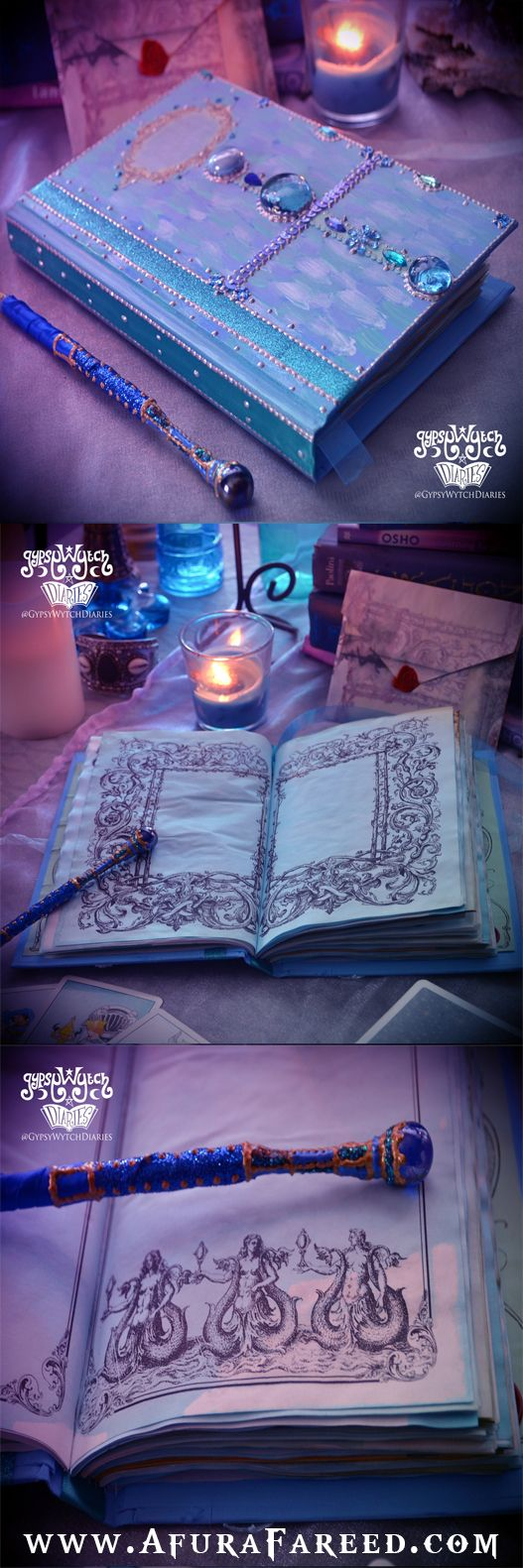 """""""Secrets of the Sea"""" handcrafted sea witch book of shadows by GypsyWytch Diaries. $55.55"""